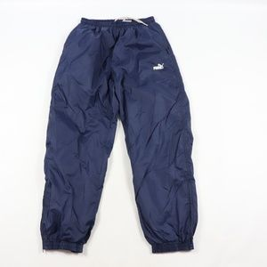 Vintage Puma Spell Out Lined Nylon Joggers Blue M